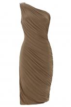 Gwyneth One Shoulder Dress (Mocha)