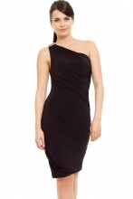 Gwyneth One Shoulder Dress (Black)