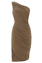Gwyneth One Shoulder Dress (Mocha)
